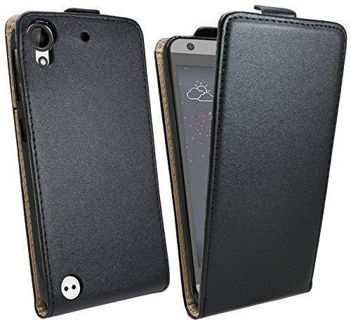 ENERGMiX Handytasche Flip Style kompatibel mit HTC Desire 530 in Schwarz Klapptasche Hülle