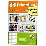 Etichette multifunzione 70 x 36 mm con fogli A4, etichette adesive, 24 etichette per fogli...