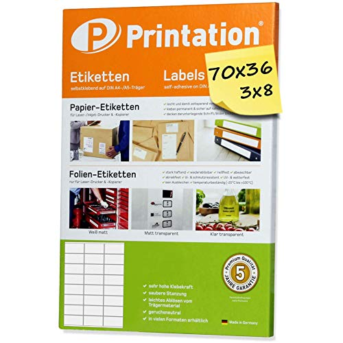 Universele etiketten 600 stickers 70 x 36 mm internetmerk wit - 70x36 stickers op 25 DIN A4 vellen 3x8-3475 3490 6122 4453 la131 la132