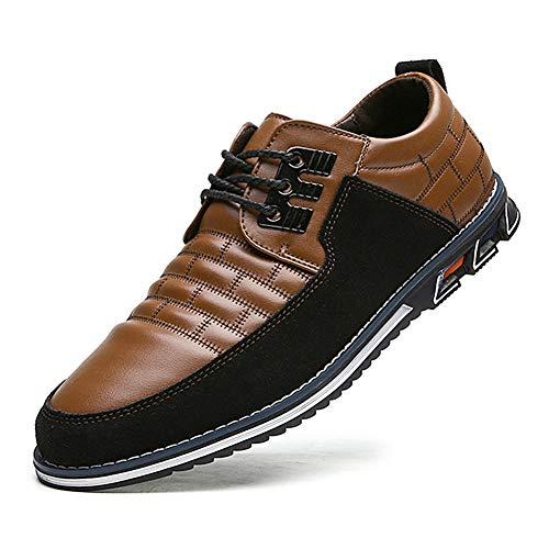 Zapatos de Cuero Oxford de Negocios con Cordones británicos Casuales para Hombres Zapatos de Oficina de conducción clásicos Transpirables cómodos 43 EU Marrón, 10.43 '' Tacón a Punta