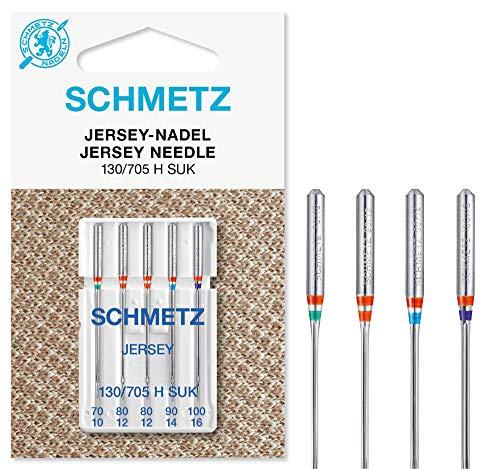 SCHMETZ Nähmaschinennadelset 130/705 H SUK | 5 Jersey-Nadeln | Nadeldicken: 1x 70/10, 2X 80/12, 1x 90/14, 1x 100/16