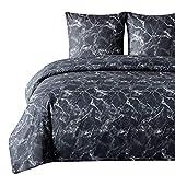 Bedsure Bettwäsche 155X220 Mikrofaser 3 teilig - schwarz Bettbezug Set mit Marmor Muster, weiche Flauschige Bettbezüge mit Reißverschluss und 2 mal 80x80cm Kissenbezug