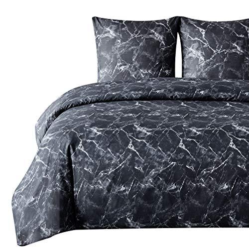 Bedsure Bettwäsche 135X200 Mikrofaser 2 teilig - schwarz Bettbezug Set mit Marmor Muster, weiche Flauschige Bettbezüge mit Reißverschluss und 1 mal 80x80cm Kissenbezug