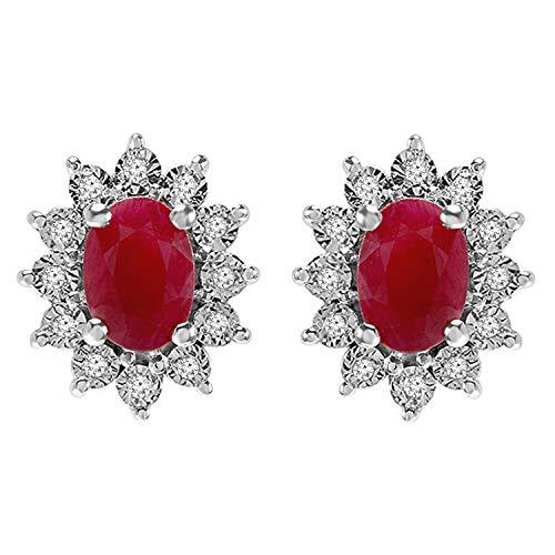 DazzlingRock Pendientes de oro blanco de 10 quilates con diamante redondo auténtico de 2 quilates inspirado en Kate Middleton Diana con rubí rojo ovalado real a juego