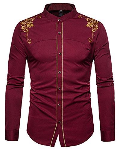 Whatlees Herren Gotik Hemd mit Golden aufgesticktes Design und Stehkragen - B964-burgundy - L