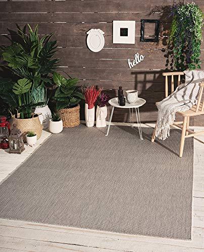 Mia´s Teppiche Lara - Alfombra de Tejido Plano para Interior y Exterior, Resistente a los Rayos UV y a la Intemperie, Gris, 100% Polipropileno, 60 x 110 cm