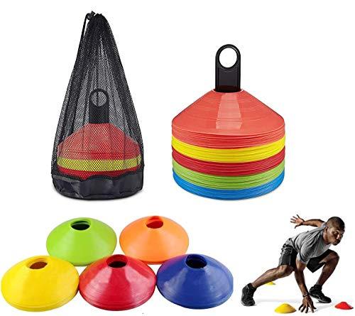 SIMEIXI 50 Coni per l'allenamento del Calcio, Coni con Logo, Coni a Disco, Coni Multicolori per l'allenamento Sportivo di agilità, Utilizzato per Il Calcio e la marcatura del Campo.