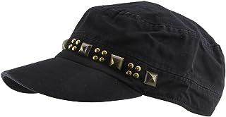 MINAKOLIFE Mens Cotton Punk Rivet Flat Cap Hat Military Camp Sun Snapback Hat
