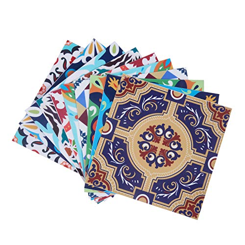 Topmail 10 Piezas Adhesivo para Azulejos Impermeable, Pegatinas de Baldosas Autoadhesivo, Pegatina de PVC Cuadrado Estilo Mediterráneo para Cocina Baño, 15x15cm