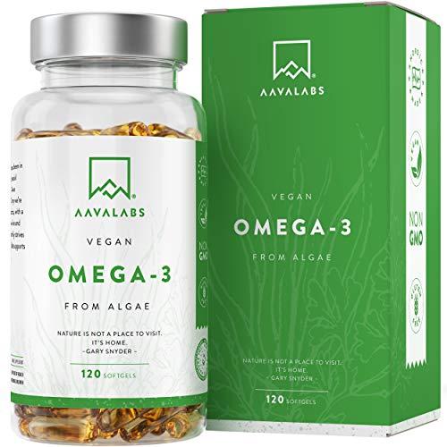 Omega 3 Vegano AAVALABS [ 1100 mg ] - de Aceite de Algas de Origen Vegetal Sostenible 600 mg DHA + 300 mg EPA por Dosis Diaria - Pureza Nórdica - 100% Vegano - 120 Cápsulas Blandas