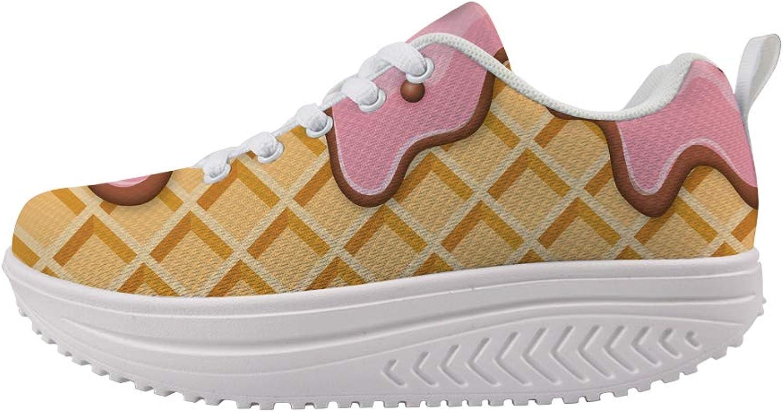 Owaheson Swing Platform Toning Fitness Casual Walking shoes Wedge Sneaker Women Melting Strawberry Ice Cream Waffle Plaid Pattern
