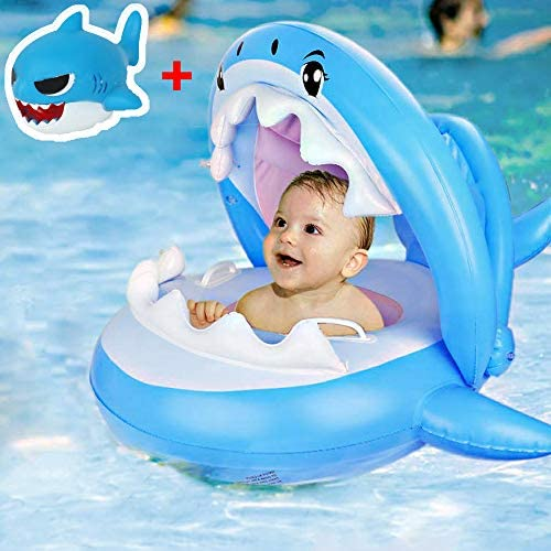 Shark Baby Floats for Pool with Canopy Inflatable Infant Swimming Floaties Blow Up Toddler Big product image
