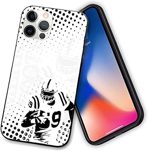 Funda compatible con iPhone 12 Series, American Football Character Running Passing Gridiron Goal Dotted Graphic, TPU suave a prueba de golpes para iPhone 12 Pro max-6.7 pulgadas