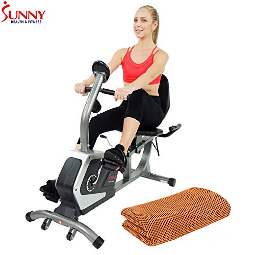 Find Bargain Sunny Health and Fitness Easy Adjustable Seat Recumbent Bike (SF-RB4616) with Workout C...