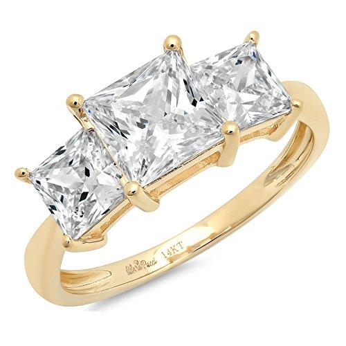 Clara Pucci 3.2 Ct Three Stone Princess Cut Bridal Anniversary Engagement Wedding Ring Band 14K Yellow Gold, Size 7