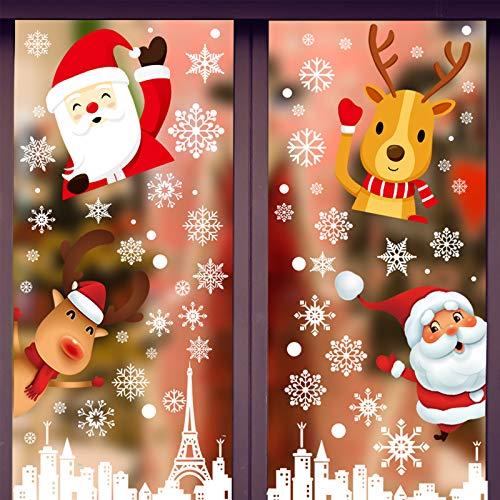 Hianjoo 240 Fensterbilder Weihnachten Selbstklebend, Schneeflocken Fenster Aufkleber für Weihnachtsdeko, 8 Blätter Weihnachts Fensterbilder Winter Fenster Deko Wiederverwendbar
