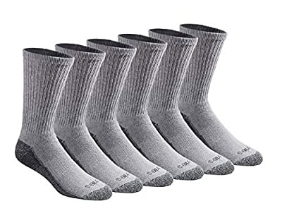 Dickies Men's Multi-Pack Dri-Tech Moisture Control Crew Socks, Gray (6 Pair), Shoe Size: 12-15