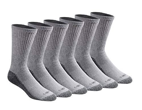 Dickies Men's Dri-tech Moisture Control Crew Socks Multipack, Grey (6 Pairs), Shoe Size: 6-12