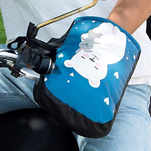 DJLHN Un par a Prueba de frío, anticongelante, fácil de Limpiar, de imitación de Cuero, portátil, Impermeable, Resistente al Agua, Guantes de manija de Motocicleta, Felpa - 2
