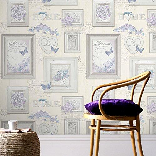 Fresco Vintage Frames Tipografía Multi Wallpaper