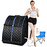 Mauccau Portable Sauna for Home, Personal Steam Sauna Spa, One Person Indoor Sauna, 2.5L Sauna Tent with Foldable Chair Timer Remote Control