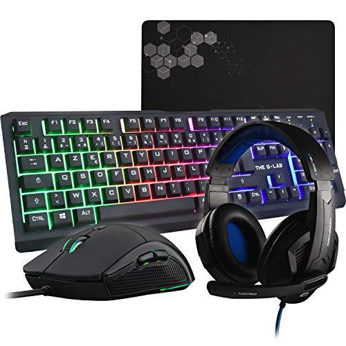 G-LAB Combo Selenium - 4-in-1-Gaming-Paket - beleuchtete QWERTZ-Spielertastatur, 3200-DPI-Spielermäuse, In-Ear-Kopfhörer, rutschfeste Mausunterlage - PC Mac PS4 Xbox One Spielerset (Argon E)