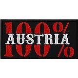 Aufnäher: 100prozent Austria Aufbügler Biker Patch Rocker Bügelbilder Motorrad Sticker zum aufnähen Österreich Flagge Patriot Geschenk Applikation für Jacken/Kutten/Jeans/Taschen 100x50mm
