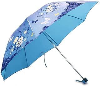 XIAO Umbrella, Pencil Umbrella, Three-fold Steel Reinforced Umbrella, Lightweight Ladies Umbrella, Umbrella For Rain And Rain, Anti-strong Wind Umbrella, Light Purple Folding Size: 24cm Happy day