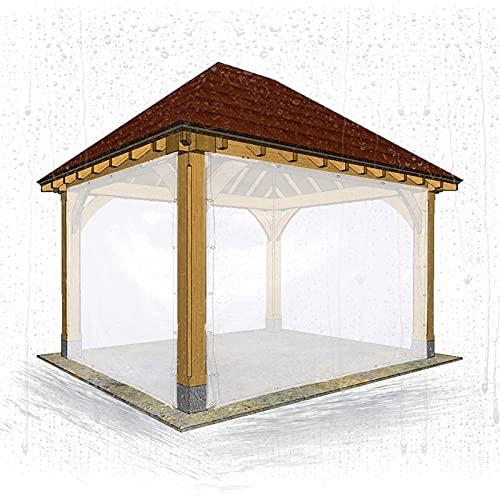 AMDHZ Tende Balcone Impermeabile PVC Copertura Antipolvere Trasparente Tende da Giardino per Esterni per Padiglioni, Terrazze, Serre (Color : Clear, Size : 2x2.5m/6.6x8.2ft)