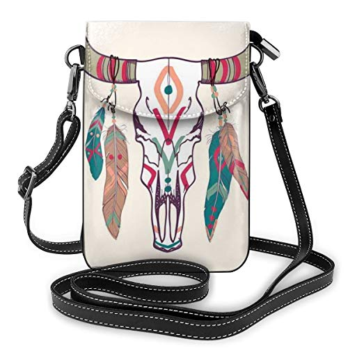 Women Mini Purse Crossbody of Cell Phone,Texas Longhorn Steer Cow Skull Ethnic Style Aztec Colorful Feathers Hanging On Horns