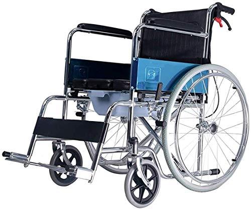 Busirsiz Silla de ruedas de aluminio ligera, plegable y portátil con un orinal, reposapiés extraíbles, apto para personas mayores y discapacitadas, carga de 100 kg, color negro