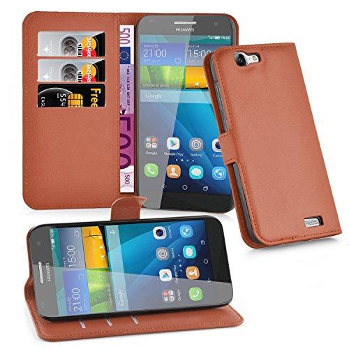Cadorabo Hülle für Huawei G7 in Schoko BRAUN - Handyhülle mit Magnetverschluss, Standfunktion & Kartenfach - Hülle Cover Schutzhülle Etui Tasche Book Klapp Style
