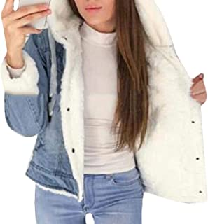 Womens Hooded Thick Lapel Jean Coat Sherpa Lined Button Down Denim Jacket