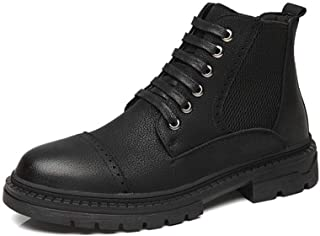 Xujw-shoes store, 2019 Mens New Lace-up Flats Mens Fashion Ankle Boots for Men RMilitary Boot Lace Up Microfiber Leather Low Heel Wear Resisting Burnished Style Stitch Side Elastic Band
