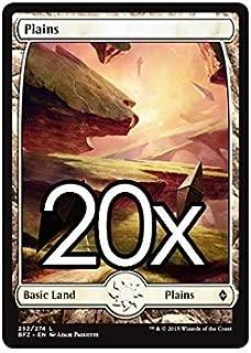 20 Battle for Zendikar Plains #252 Magic the Gathering Basic FULL ART Land Lot