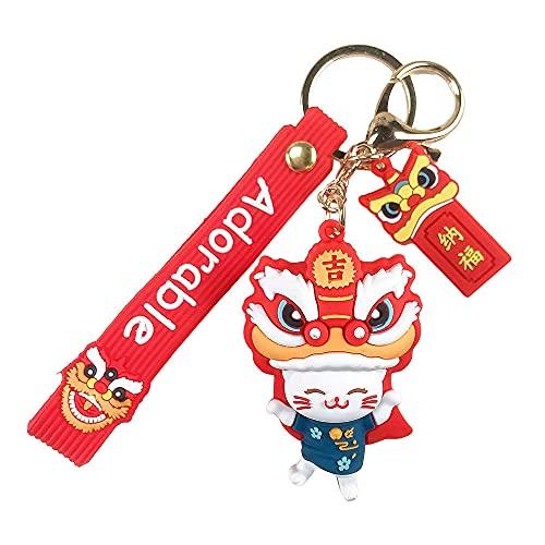 Xboipihkkiy Llaveros, llaveros de danza del león de estilo chino, llaveros de coche, bolsos, colgantes, artilugios creativos, los mejores regalos de Navidad de cumpleaños para niños y niñas-Blue Cat