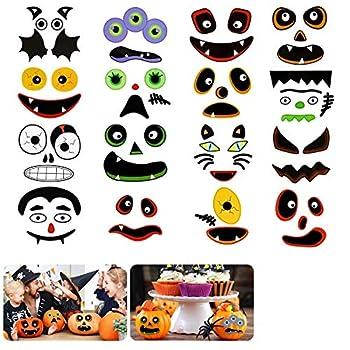 QKURT 48 Face Halloween Pumpkin Face Stickers - Make Your Own Jack-O-Lantern Halloween Pumpkin CCraft Stickers Pumpkin Faces Craft Kit for Halloween Party Trick or Treat Party