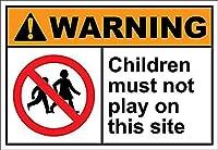 お子様はこのサイトで遊んではいけません 金属板ブリキ看板警告サイン注意サイン表示パネル情報サイン金属安全サイン