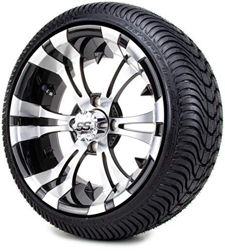 """14"""" Vampire Machined & Black Golf Cart Wheels and Low Profile Tires Combo Set of 4"""