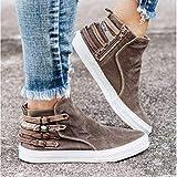 LYYJF Zapatillas de Cuña Deportivas para Mujer Zapatos Oculto Tacón Plataforma Sneakers Otoño e Invierno Zapatos de Lona,Gris,35