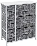 Sorbus Dresser with 7 Drawers - Furniture Storage Tower Unit for Bedroom, Hallway, Closet, Office Organization - Steel Frame, Wood Top, Easy Pull Fabric Bins (Gray/White)