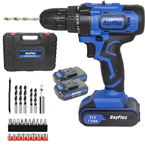 Cordless Drill Diver Kit 21V Max Impact Drill Set with Two Li-Ion Batteries & LED Worklight, Forward/Reverse Switching, 29PCS Drill Bits Set, 18+1 Torque Settings, Heavy Duty Hammer Action Power Tool