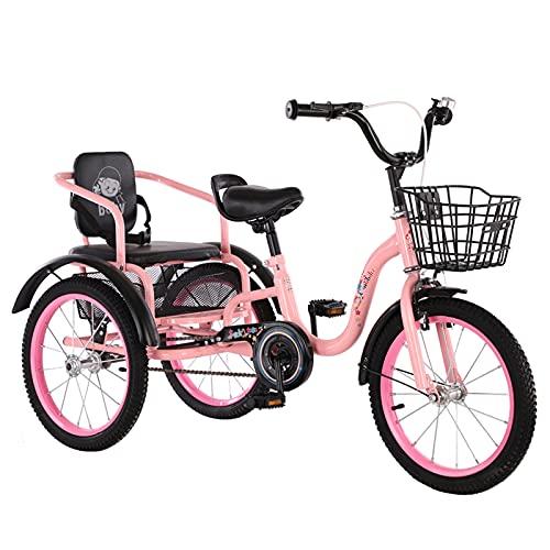 Triciclo de Adultos Triciclo Adulto Bicicleta De Bicicleta De Triciclos De 16 Pulgadas De Triciclos Adultos Con La Bicicleta De La Cesta De Las Compras Para La Bicicleta De Las Mujeres D(Color:rosado)