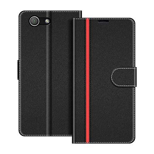 COODIO Handyhülle für Sony Xperia Z3 Compact Handy Hülle, Sony Xperia Z3 Compact Hülle Leder Handytasche für Sony Xperia Z3 Compact Klapphülle Tasche, Schwarz/Rot
