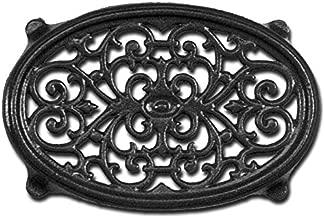 Matte Black Oval Filigree Steamer Trivet