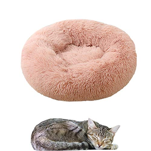 llasm Camas para Gatos Cama Perro Grande Lavable Camas para Perros Pequeños Baratas Cama Gatos Suave para Soporte para El Cuello Durante El Sueño Propio Pink,60cm/23.6in