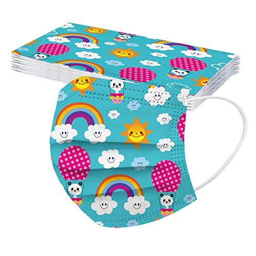 Rabbiter 50 Stück Kinder Mundschutz 3D Motiv Schmetterling Druckmuster Halstuch Kindermäske Wiederverwendbare Gesicht Bandanas einweg Lustiger Halstuch für Jungen und Mädchen mit 5 Mustern