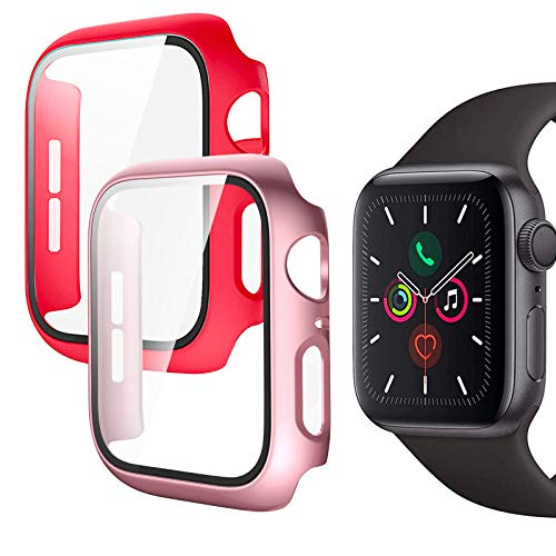 Protector de Pantalla para Apple Watch 40mm Series 6 Series 5 Series 4 SE, 2 Pack PC Funda + Cristal Templado, Protección Completo Anti-Rasguños Case para iWatch para Mujeres Niñas (Oro Rosa + Rojo)