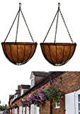 MTB Garden Hanging Baskets 10 Inches Traditional Style with Coco-Liner, Pack of 2 for Home Balcony Patio Decoration