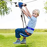 Jugader 160FT Backyard Zipline Kits for Kids with Cable Tensioning Kit, Upgraded Seat, Stainless Steel Spring Brake/Sling Cable, Detachable Trolley, Adjustable Safety Harness & Belt